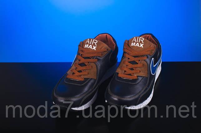 Кроссовки подростковые Yuves Rex синие-рыжие (натуральная кожа, весна/осень), фото 2