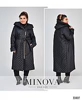 Длинная куртка-пальто батал с капюшоном и поясом с 50 по 58 размеры, фото 2