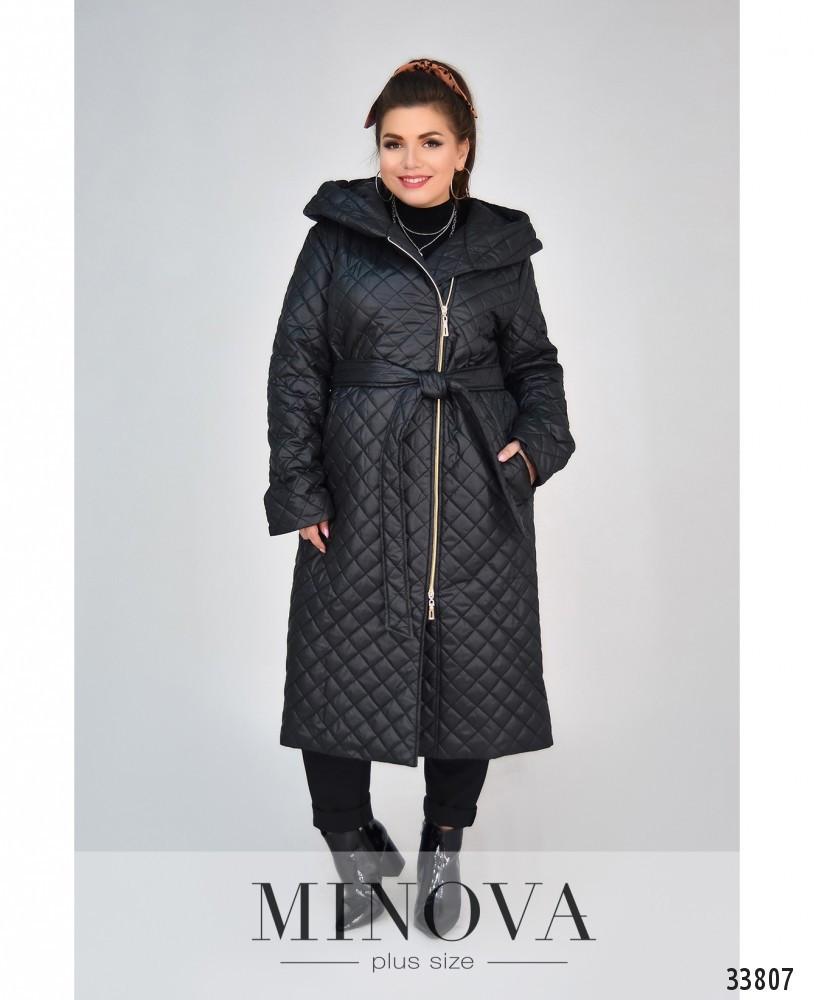 Длинная куртка-пальто батал с капюшоном и поясом с 50 по 58 размеры