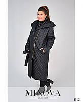 Длинная куртка-пальто батал с капюшоном и поясом с 50 по 58 размеры, фото 3