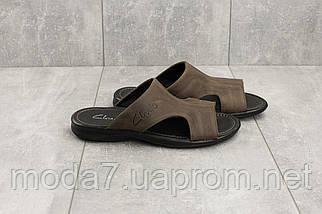Шлепанцы мужские Yuves Z5 коричневые (натуральная кожа, лето), фото 3
