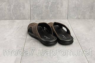 Шлепанцы мужские Yuves Z5 коричневые (натуральная кожа, лето), фото 2