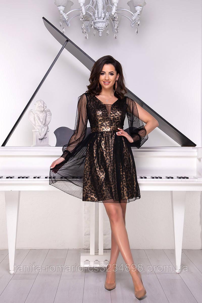 Коктейльное платье 9035e Золотой S M L
