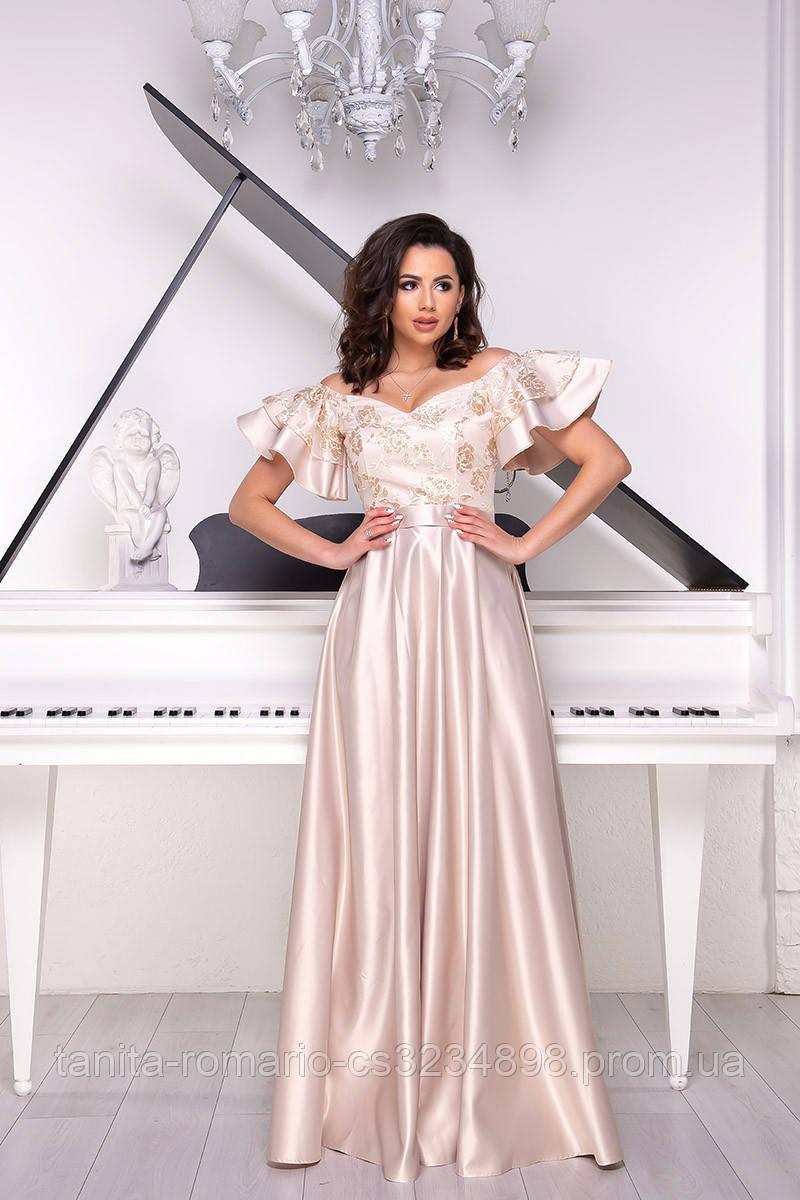Вечернее платье 9018/1e Бежевый S M L