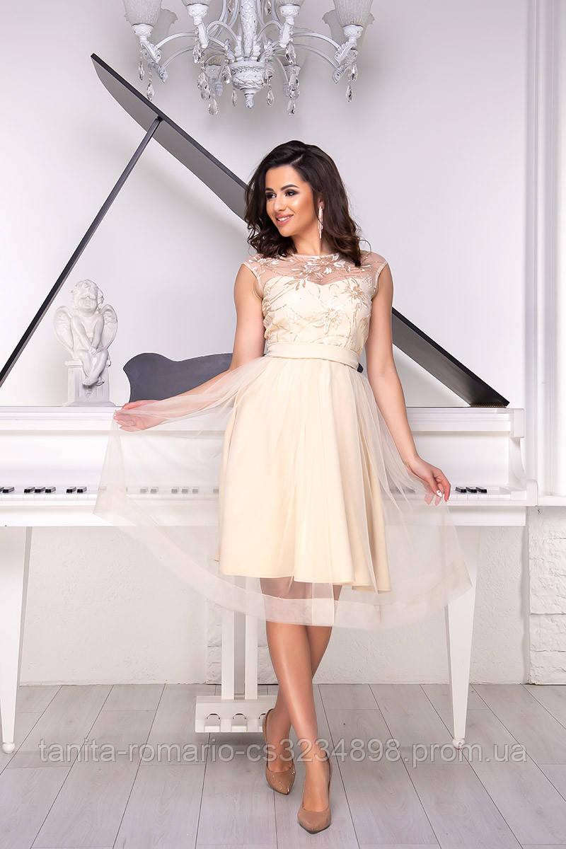 Вечернее платье 9044e Бежевый S M L