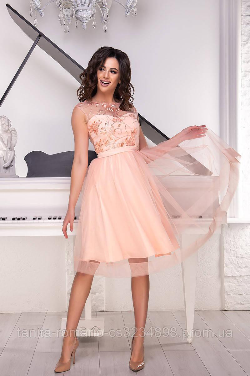Вечернее платье 9044e Персиковый S M L