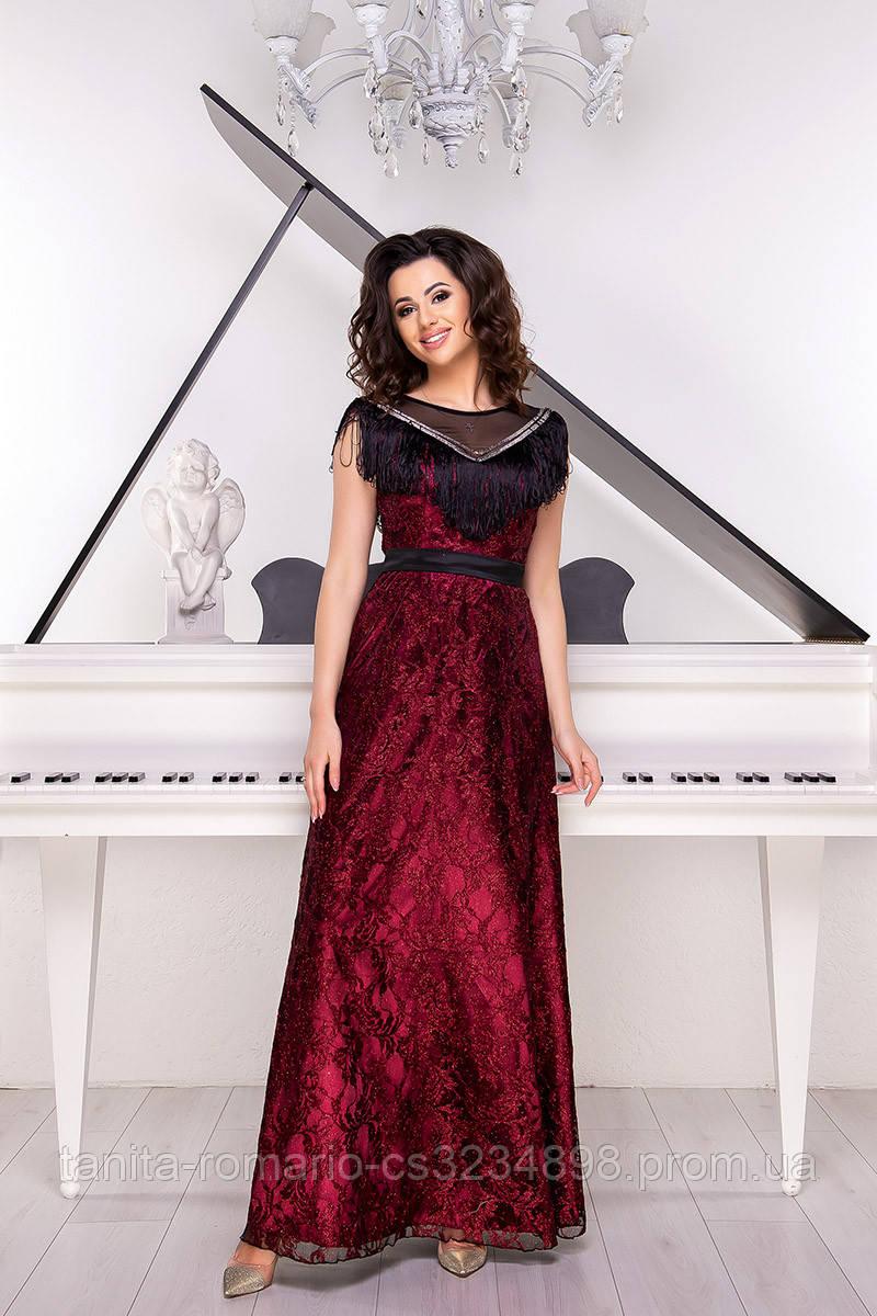 Вечернее платье 9046e Бордо L(р)