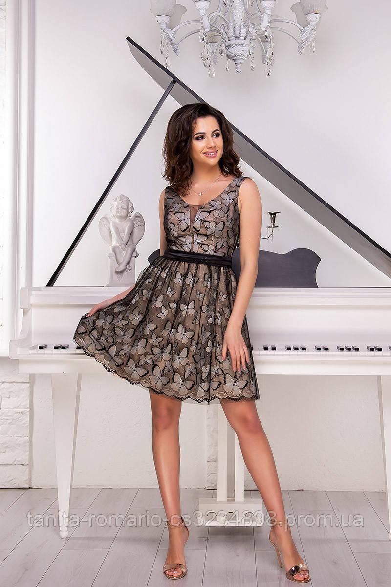 Коктейльное платье 9049e Бежевый S M L