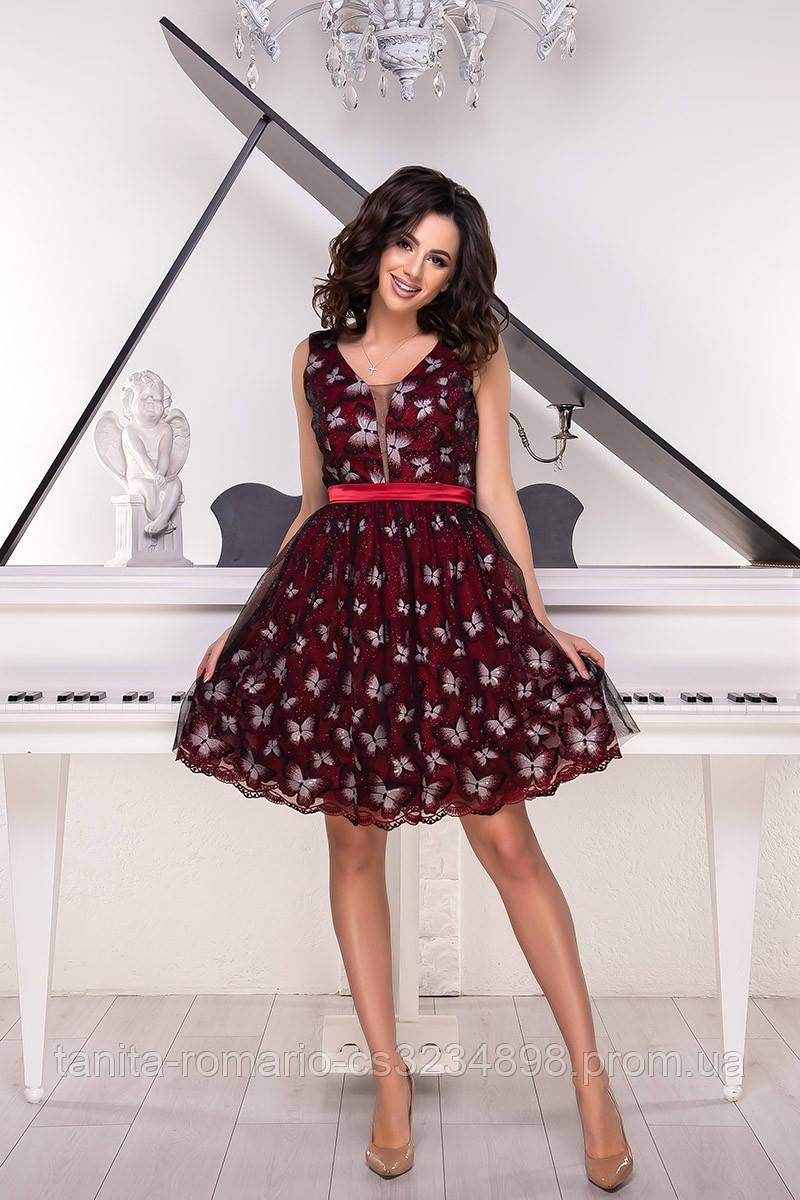 Коктейльное платье 9049e Бордо S M L