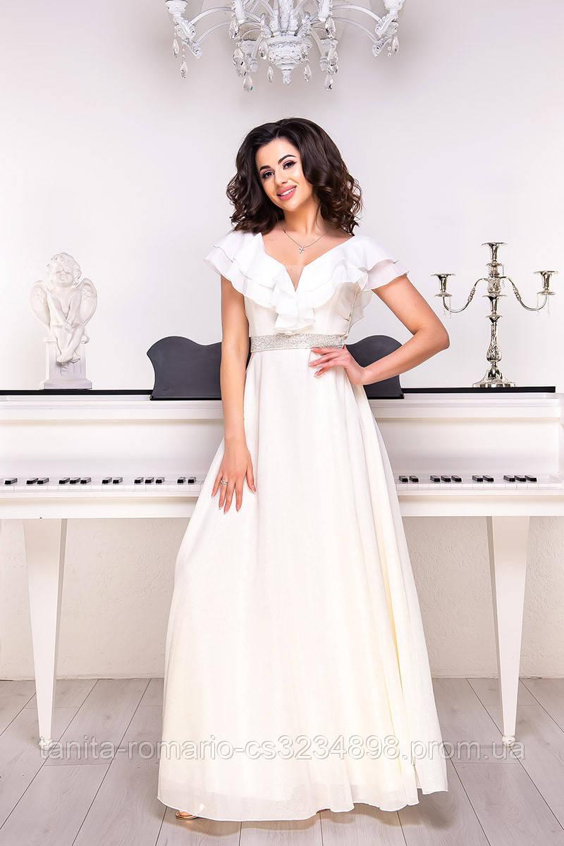 Вечернее платье 9060e Молочный S M L