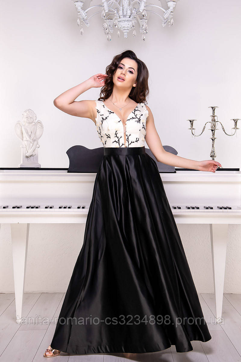Вечернее платье 9051e Молочный L(р)