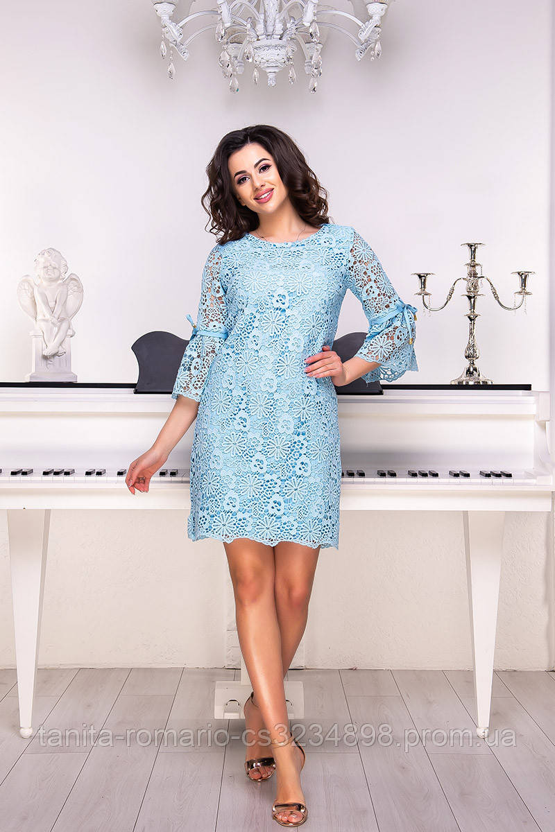 Коктейльное платье 8194e Голубой S M L