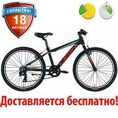 """Подростковый велосипед горный 24"""" Leon JUNIOR RIGID 2019 (черно-красный с синим)"""