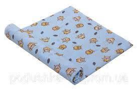 Пеленка ситец 95х110 совушки голубые, фото 2