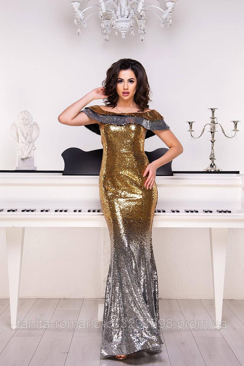 Вечернее платье 9013e Серебро/золото S M L