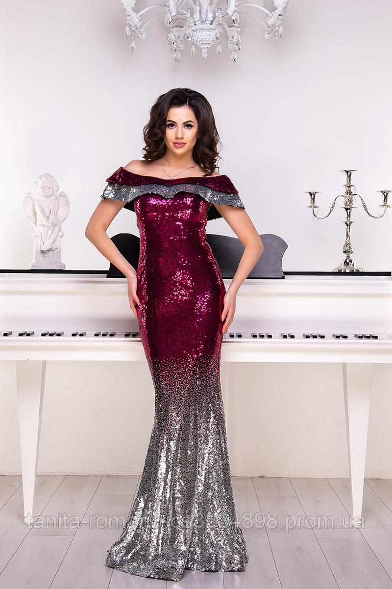 Вечернее платье 9013e Серебро/малина L(р)