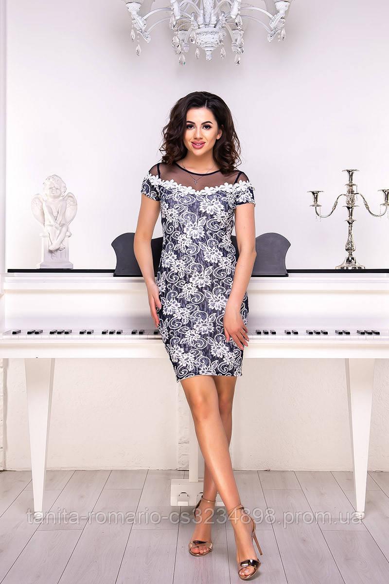 Повседневное платье 8109e Синий S M L
