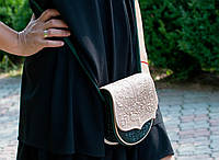 Кожаная женская сумка, сумка через плечо, мини сумочка, бежево-зеленая сумка, фото 1