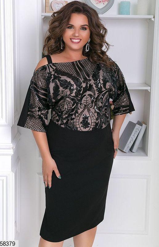 Нарядное платье-футляр большого размера с пайетками черное