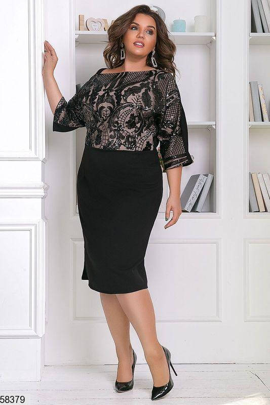 Нарядное платье-футляр большого размера с пайетками черное, фото 2