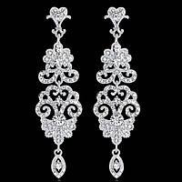 Свадебные серебряные сережки для невест, выпускниц с белыми камнями горный хрусталь