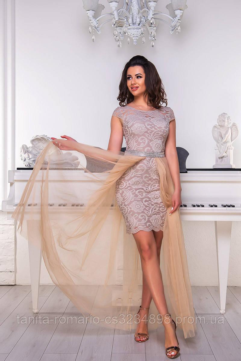 Коктейльное платье 8065e Бежевый S M L
