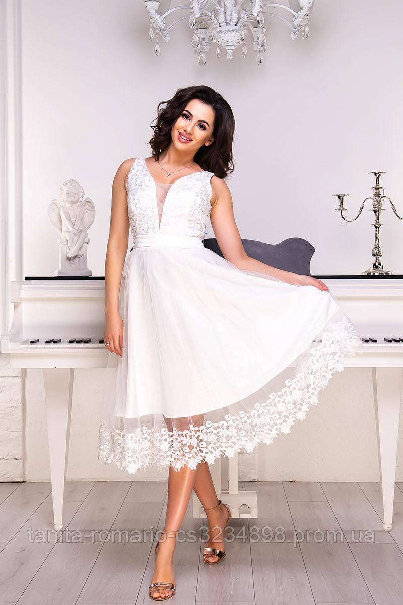 Коктейльное платье 9070e Молочный S M L