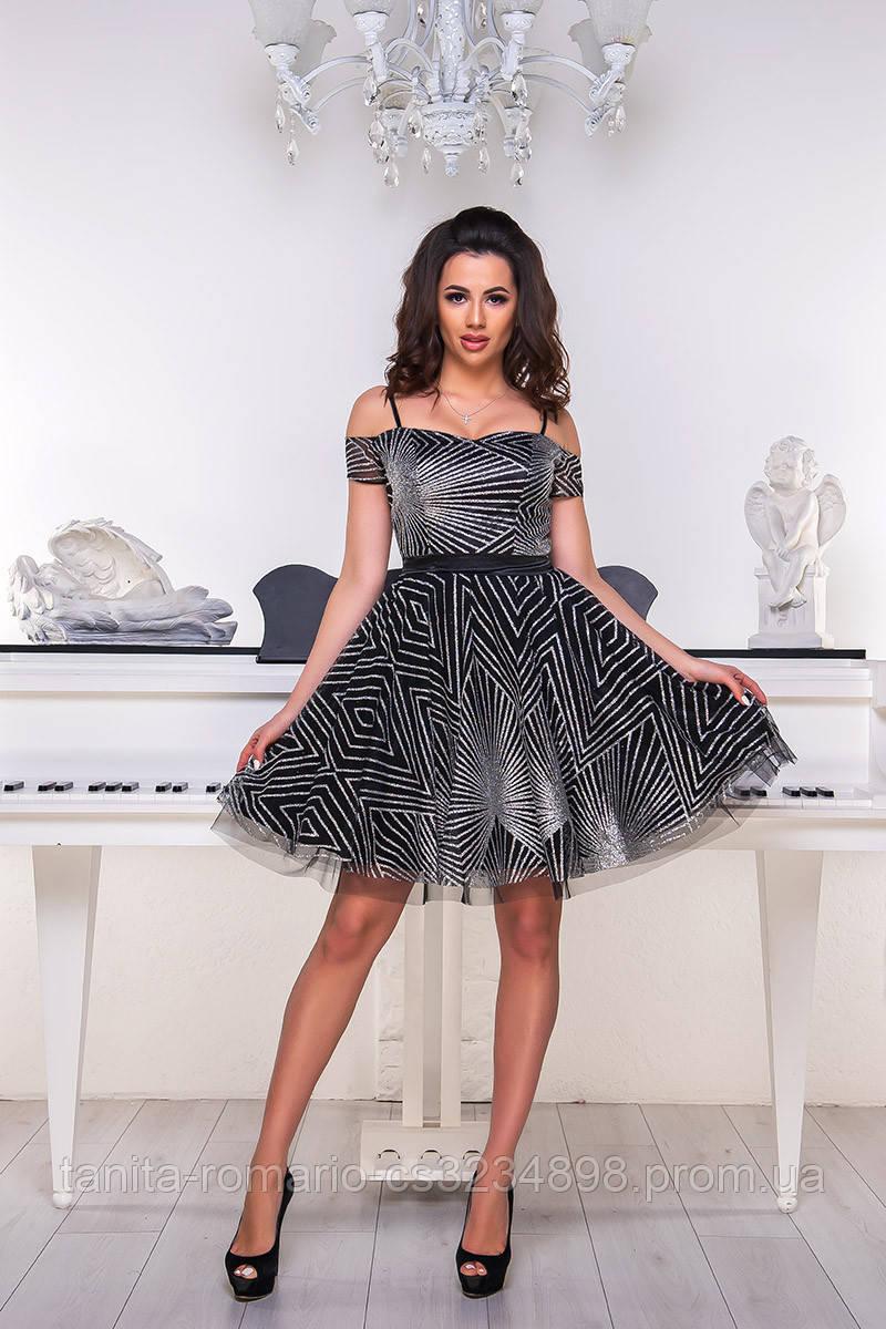 Коктейльное платье 9072e Чёрный/серебро S M L