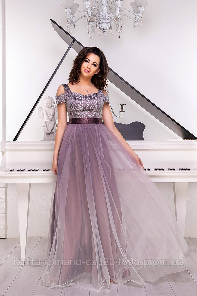 Вечернее платье 9057e Фрезовый S M L