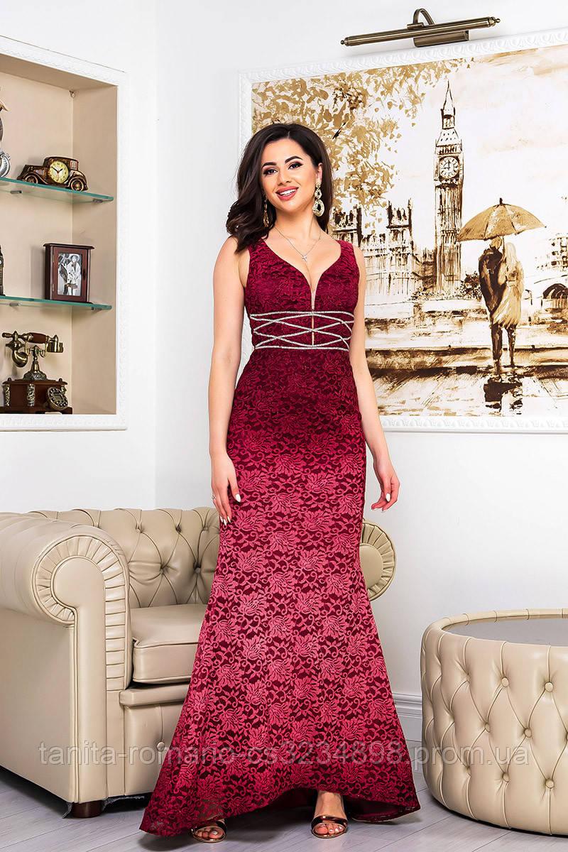 Вечернее платье 9063e Бордо S M L