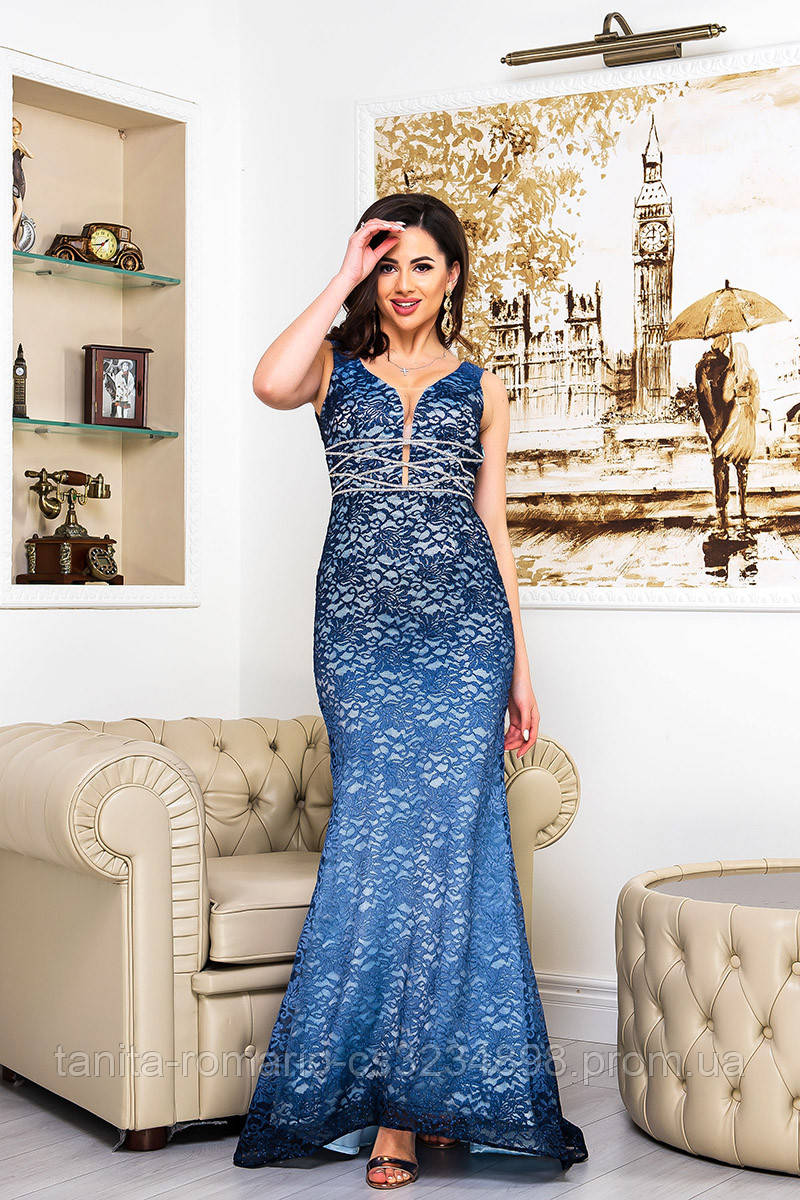 Вечернее платье 9063e Синий S M L