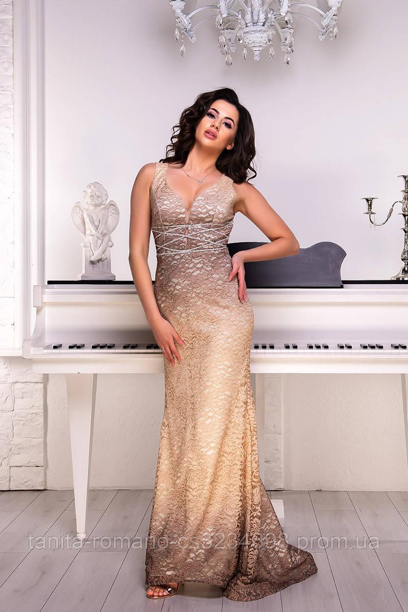 Вечернее платье 9063e Бежевый L(р)