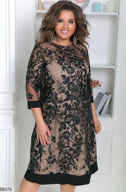 Нарядное платье большого размера с вышивкой черное