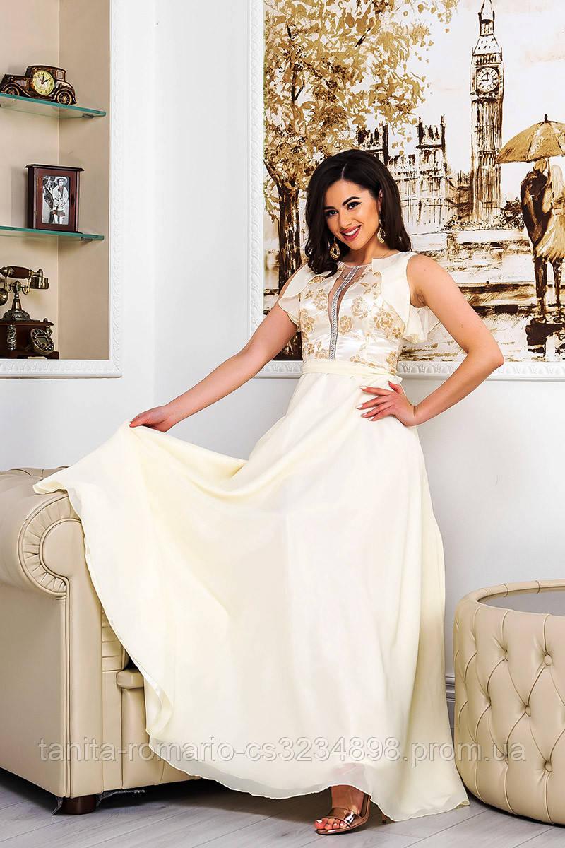 Вечернее платье 9076e Молочный S M L