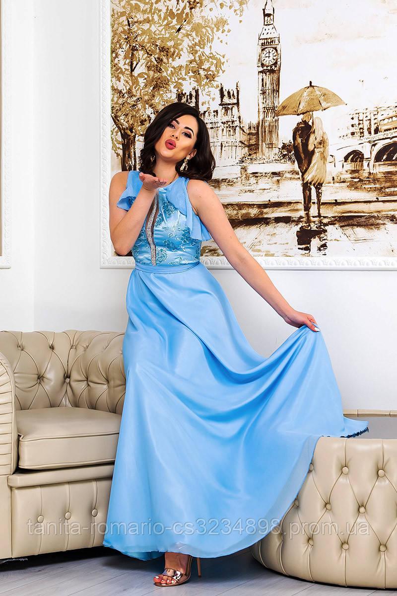 Вечернее платье 9076e Голубой L(р)