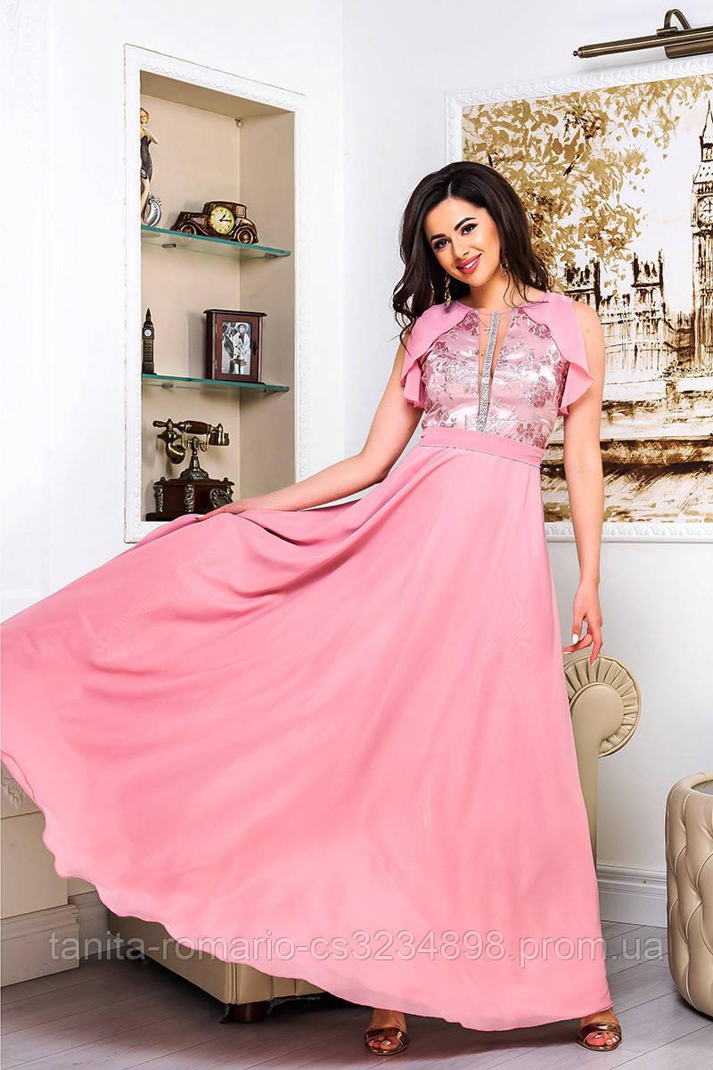 Вечернее платье 9076e Фрезовый S M L