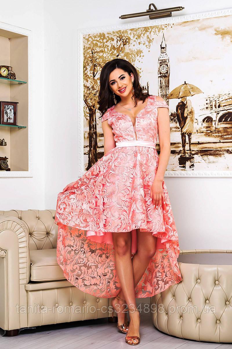 Коктейльное платье 9081e Розовый S M L