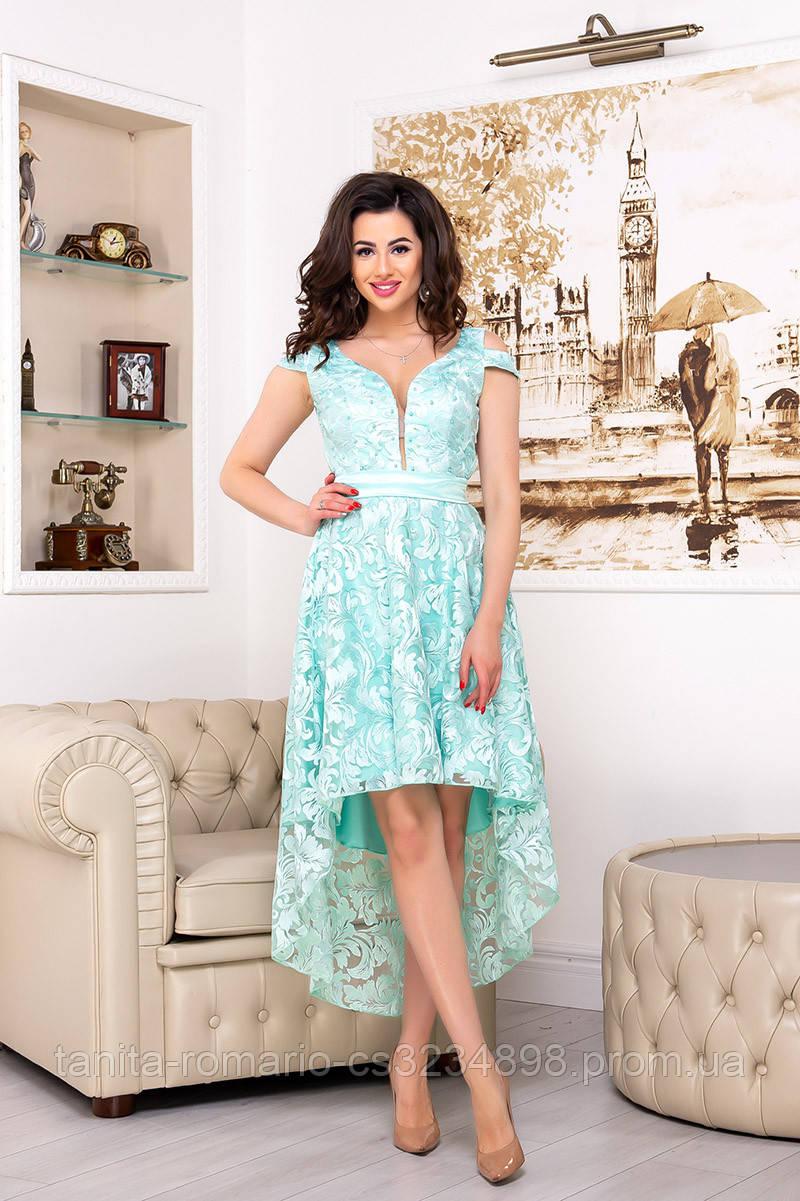 Коктейльное платье 9081e Мятный S M L