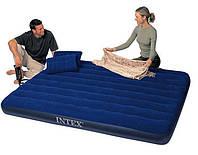 Надувний велюр-матрац Intex 68765,надувна ліжко 152*203*22см з насосом і двома подушками