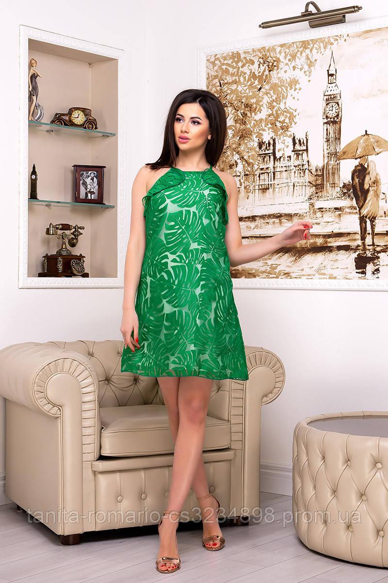 Повседневное платье 7158e Зелёный S M L