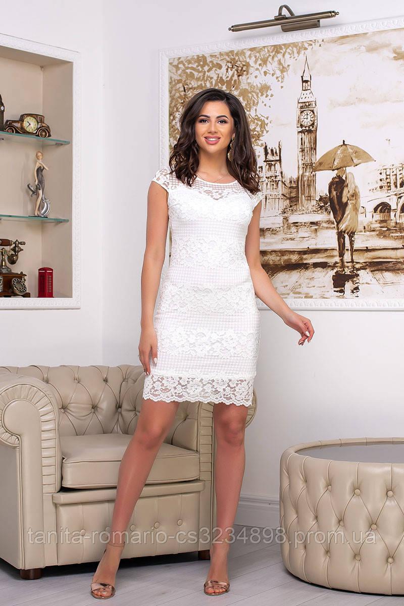 Повседневное платье 7125e Молочный S M L