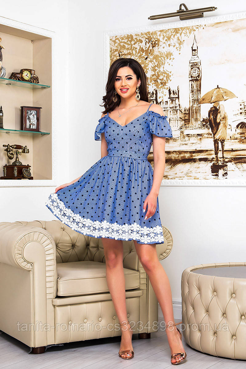 Повседневное платье 9086e Синий S M L
