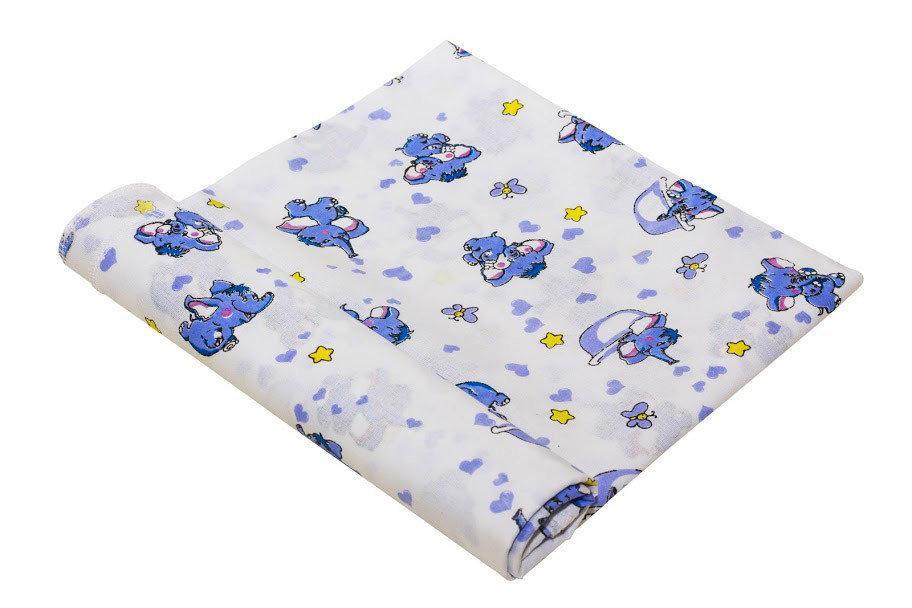 Пеленка ситець 80х95 слоник голубой