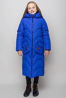 Куртка пальто детская зимняя для девочки теплая на овчине синяя, фото 1