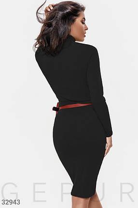 Демисезонное платье в обтяжку до колен длинный рукав цвет черный, фото 2