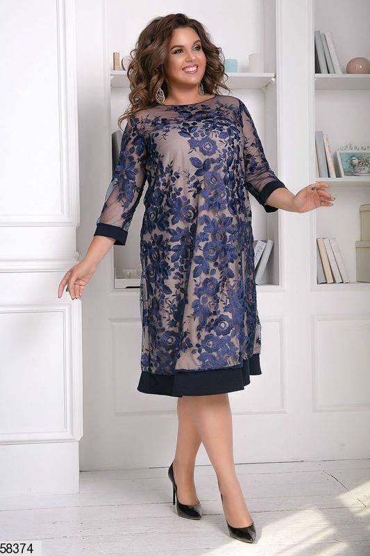 Вечернее платье большого размера с вышивкой синее, фото 2