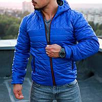 Курточка чоловіча синя осіння весняна утеплена якісна з капюшоном, фото 1