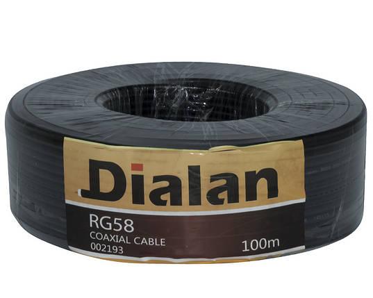 Коаксиальный кабель Dialan RG58 50ом 10м биметалл черный, фото 2