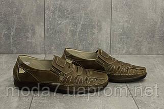 Босоножки мужские Vankristi 1151 оливковые (натуральная кожа, лето), фото 3