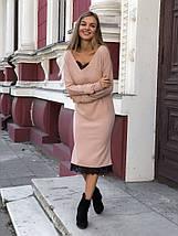 """Ангоровое миди-платье свободного кроя """"LOREN"""" с кружевом (3 цвета), фото 2"""